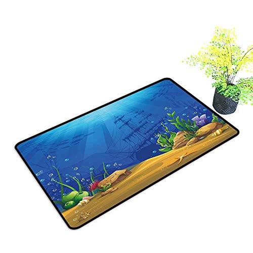 Zmstroy Interior Door mat Aquarium Marine Life Landscape Sunken Ship Silhouette Corals Fishes Tropics W30 xL39 Hard and wear Resistant Blue Light Coffee Green