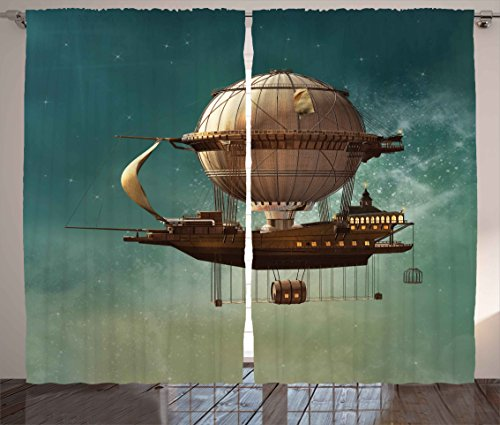 """Ambesonne Fantasy Curtains, Surreal Sky Scenery with Steampunk Airship Fairy Sci Fi Stardust Space Image, Living Room Bedroom Window Drapes 2 Panel Set, 108"""" X 90"""", Teal Brown"""