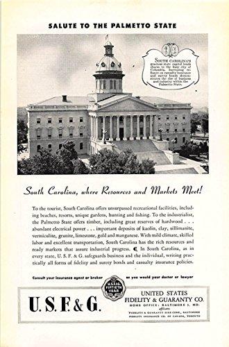 Print Ad 1946 United States Fidelity   Guaranty South Carolina Where Resources