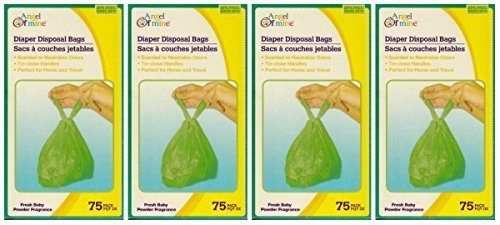 Angel of Mine: Diaper Disposal Sacks Bags (Scented to Neutralized Odors) 75 Count Per Box (Four Boxes)
