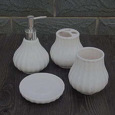 KHSKX Cuatro piezas de baño baño de taza de cerámica botes de loción jabonera Kit porta cepillo de dientes: Amazon.es: Hogar