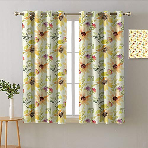 """Jinguizi Curtain Kitchen Grommets Light Darkening Curtains Printed Darkening Curtains Sunbeams Isolated Darkening Curtains Privacy Assured Window Treatment(1 Pair, 36"""" Width x 54"""" Length Each Panel)"""