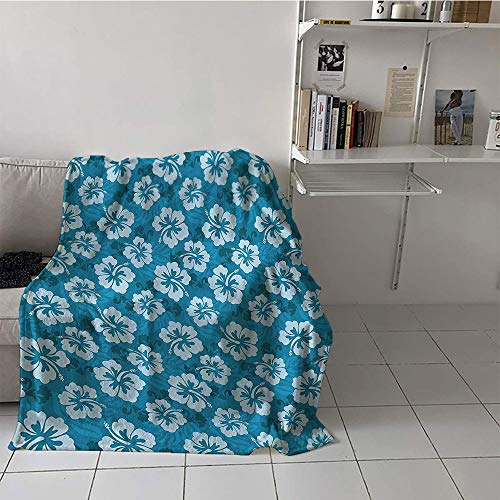Khaki home Children's Blanket Throw All Season Blanket (60 by 70 Inch,Hawaiian Decorations Collection,Hawaiian Hibiscus Flowers and Leaves Fashion Fabric Design Style Artwork Print,Teal and Blue