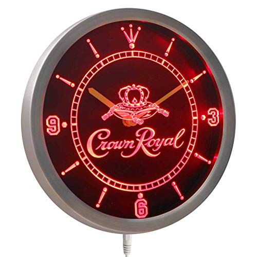 Time2LightUp Crown Royal Whiskey 10 Inches Round LED Neon Wall Clock Red (Crown Royal Neon Clock)