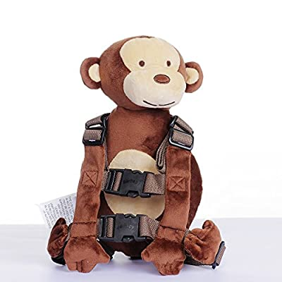 Berhapy 2 in 1 Monkey Toddler Safety Harness Backpack Children's Walking Leash Strap?Brown?