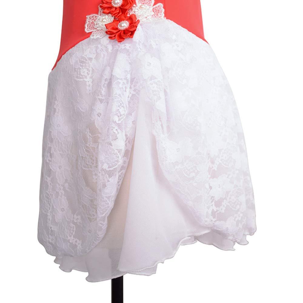 Vestido De Patinaje Artístico Vestido De Patinaje Sobre Hielo Hecho A Mano Chicas Mujer De Coser Encaje De Pequeña Flor Roja Competencia Wear: Amazon.es: ...