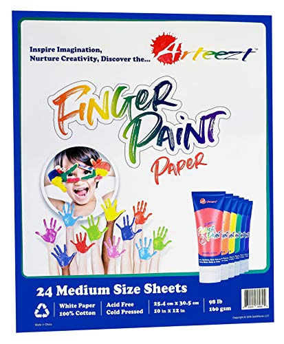 Arteezt Finger Paint Paper Pad - Non-Toxic, Kids Painting and Drawing, Durable Art Supplies - Home and Classroom Early Learning Arts and Crafts ()
