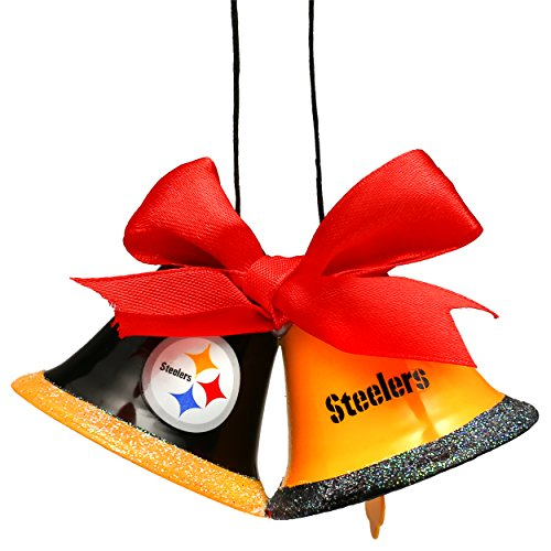 Christmas Holiday Metal 2 Bells Ornament Pittsburgh Steelers
