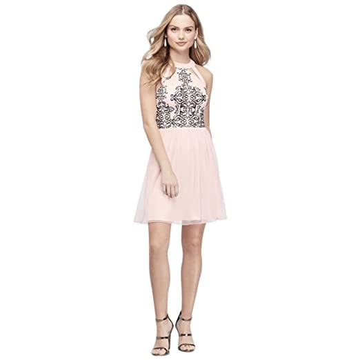 Davids Bridal Embroidered Mesh High Neck Prom Dress With Cutouts
