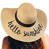Womens Straw Hat Wide Brim Floppy Beach Cap Adjustable Sun Hat for Women UPF 50+ (Hello Sunshine&Khaki)