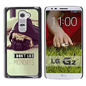 No tengo gusto de lunes Pug Dog Sepia- Metal de aluminio y de plástico duro Caja del teléfono - Negro - LG G2
