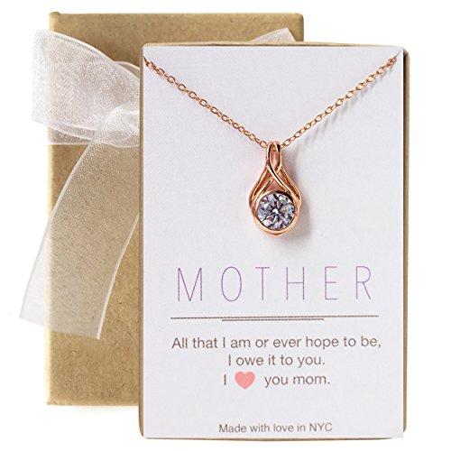 al Pendant Pendant, Gift for mom in Rose Gold, Silver (Crystal Solitare)