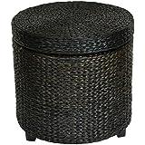 ORIENTAL FURNITURE Rush Grass Storage Footstool - Black