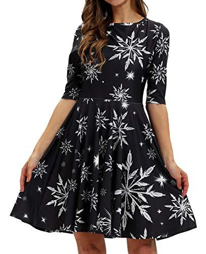 Hanukkah Dress - GLUDEAR Womens Girls Half Sleeve Swing Dress Christmas Print A Line Pleated Dress,Xmas Snowflake,S/M