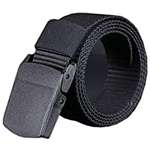 DKmagic Wild Men Canvas Belt Hypoallergenic Metal Free Plastic Automatic Buckle