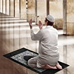 Hitopin Portable Black Color Muslim Prayer Rug with Compass Pocket Size Prayer Mat ompass Qibla finder with Booklet Waterproof Material HP-PMBk