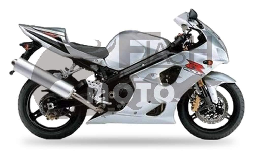FlashMoto suzuki 鈴木 スズキ K3 GSXR1000 2003 2004用フェアリング 塗装済 オートバイ用射出成型ABS樹脂ボディワークのフェアリングキットセット シルバー   B07MNHCBJT