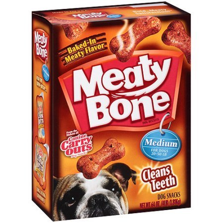 Meaty Bone Medium Dog Snacks, 64-Ounce, Pack of 2 Boxes (128oz Total) (64 Ounce Box)