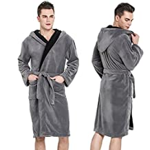 Hooded Herringbone Men's Brown Soft Spa Bathrobe with Navy Blue Kimono Shawl Collar