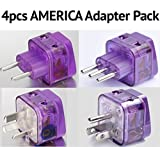NEW! 4 Pieces HIGH QUALITY AMERICA TRAVEL ADAPTER Pack for SOUTH and N. AMERICA; ARGENTINA BRAZIL CHILE PERU BOLIVIA URUGUAY COSTA RICA COLOMBIA DOMINICAN REP. USA MEXICO CANADA / WITH DUAL PLUG-IN PORTS AND BUILT-IN SURGE PROTECTORS
