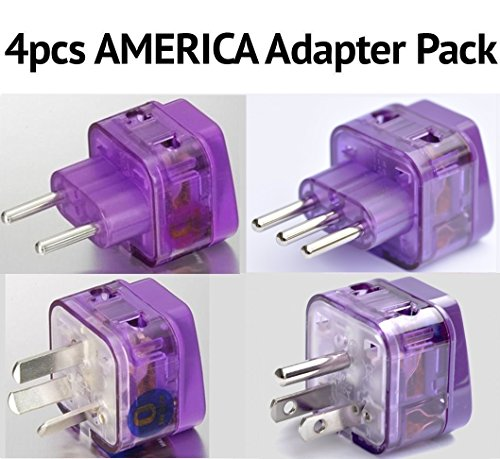 NEW! 4 Pieces AMERICA TRAVEL ADAPTER Pack for SOUTH and N. AMERICA; ARGENTINA BRAZIL CHILE PERU BOLIVIA URUGUAY COSTA RICA COLOMBIA DOMINICAN REP. USA MEXICO CANADA / WITH DUAL PLUG-IN PORTS AND BUILT-IN SURGE PROTECTORS