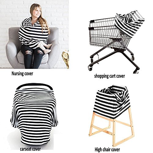 Nursing Cover Scarf Multiuse Baby Car Seat Canopy Shopping Cart Stroller Carseat Covers Breastfeeding Cover Soft, Black