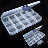 FIN86 Storage Case Box,15 Grid Clear Plastic Adjustable Storage Box Jewelry Organizer Case with Removable Dividers