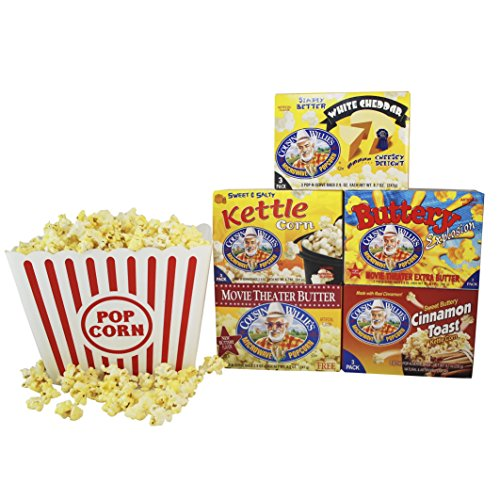Gourmet Popcorn Tub (Cousin Willies Gourmet Microwave Popcorn Salty Sweet Variety Pack with Jumbo Plastic Popcorn Tub (Buttery Explosion, Kettle Corn, Movie Theater Butter, Cinnamon Toast, and White Cheddar Flavors))