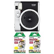 Fujifilm FU64-INSM9K020 Instax Mini 90 Neo Classic Camera and Film Kit, 20 Exposures (Black/Silver)