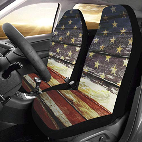 Artsadd Retro American Flag Fabric Car Seat Covers (Set of 2) Best Automobile Seats Protector