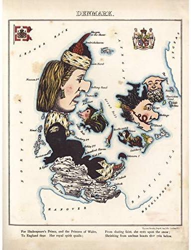 ポスター ランカスター1869ピクトリアルマップデンマーク神話上の動物 A3サイズ [インテリア 壁紙用] 絵画 アート 壁紙ポスター