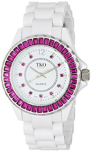 TKO ORLOGI Women's TK608-WFS Ceramix-Ice White Acrylic Pink Crystals Watch