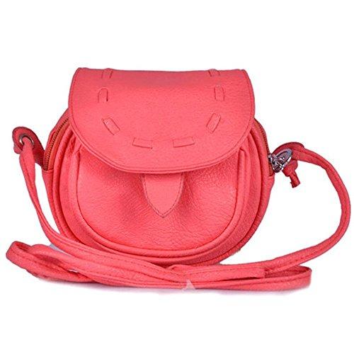 TOOGOO(R) Neue Fashion Messenger Bag Mini Schulter Beutel PU-Leder Kurier Umhaengetasche Drawstring Handtasche fuer Damen(rot)