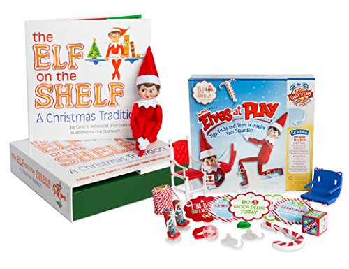 The Elf on the Shelf: A Christmas Tradition - Blue Eyed North Pole Elf Girl with Elves at Play Kit (Dog Elf Outfit)