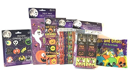 Halloween Trick Or Treat Bags Bundle: Includes Treat Bags, Sticker Boxer, Halloween Pencils, Halloween Erasers, Halloween Buttons, Skulls and Bones Hard (This Is Halloween Song Remake)