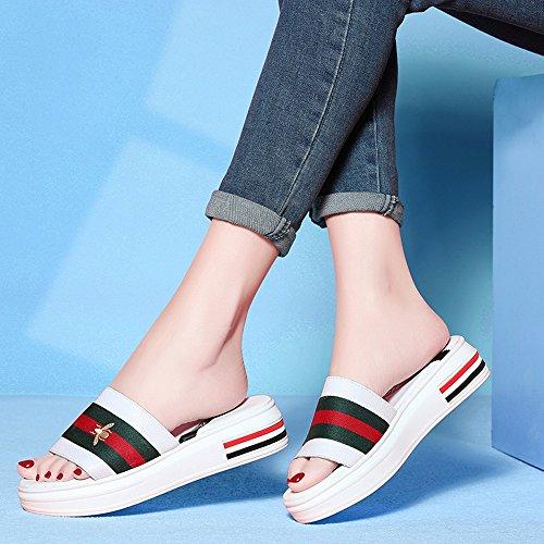 Flops Pantoufles Talons Summer Plates extérieure Mesdames à Moyens Mode Sandales Blanc Summer Flip a pxFnqw