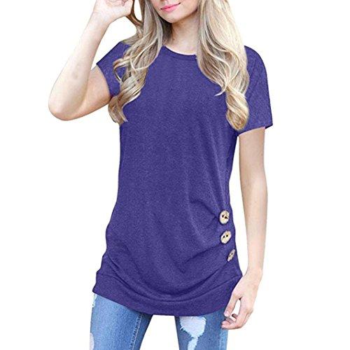 Affliction Short Sleeve Polo Shirt - Clearance Women Short Sleeve T Shirt,Vanvler { Ladies Tunic Blouses } Solid Round Neck Loose Tops Button Decor (XL, Purple)