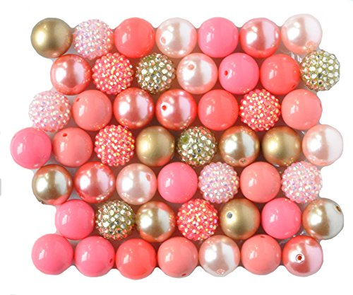 Coral and Gold 20mm Chunky Bubblegum Beads 50 Pc Set ()