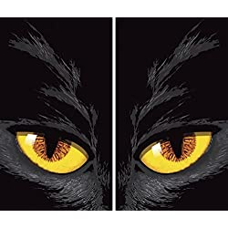 "WOWindow Posters Yellow Cat Eyes Halloween Window Decoration Two 34.5""x60"" Backlit Posters"