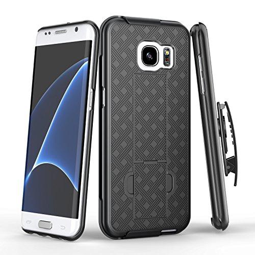 Galaxy S7 Edge Case, TILL [Thin Design] Holster Locking Belt Swivel Clip Non-slip Texture Hard Shell [Built-In Kickstand] Combo Case Defender Cover For Samsung Galaxy S7 Edge S VII Edge G9350 [Black]
