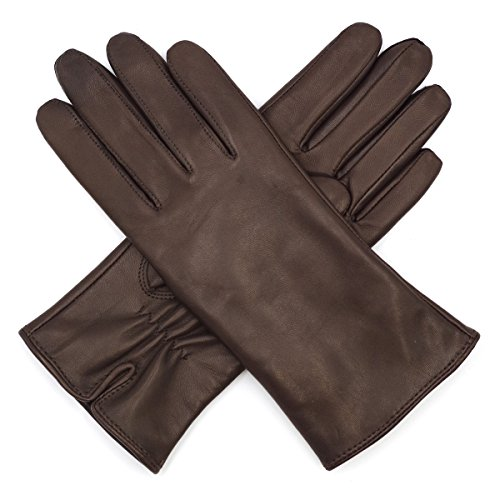 Harssidanzar Womens Luxury Italian Lambskin Nappa Leather Gloves Vintage Finished (Ladies Brown Leather Gloves)