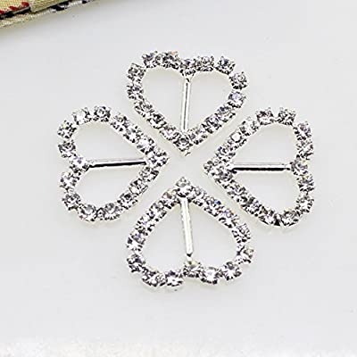50pcs 20x21mm Silver Heart shaped Rhinestone Buckle Slider for Wedding Invitation Letter