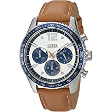 GUESS Men's Quartz Stainless Steel and Leather Casual Watch, Color:Brown (Model: U0970G1)