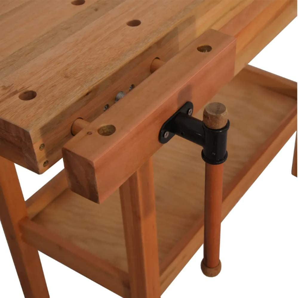 and Stoppers Pegs Professional Work Bench with Guide Holes Tool Well Vice ZAMAX Heavy-duty Wooden Carpentry Workbench with Storage Drawers Tool Tray
