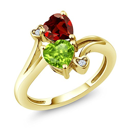 Gem Stone King 1.76 Ct Heart Shape Green Peridot Red Garnet 10K Yellow Gold Ring (Size 5)