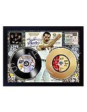 SGH SERVICES New Mini LP y Mini Gold LP de Vinilo de Freddie Mercury Queen Bohemian Rhapsody Live Aid Wembley Stadium 13 de Julio de 1985 Mini Disco de Vinilo Dorado Firmado con Marco de Vinilo