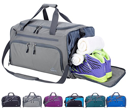 Venture Pal Packable Sports Gym Bag with Wet Pocket & Shoes Compartment Travel Duffel Bag for Men and Women-Gray