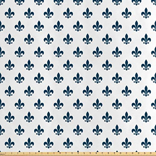 Lunarable Fleur De Lis Fabric by The Yard, Illustration of Fleur-de-Lis Motif Lily Shades Ornament Minimalistic, Decorative Satin Fabric for Home Textiles and Crafts, 3 Yards, Cream Night ()