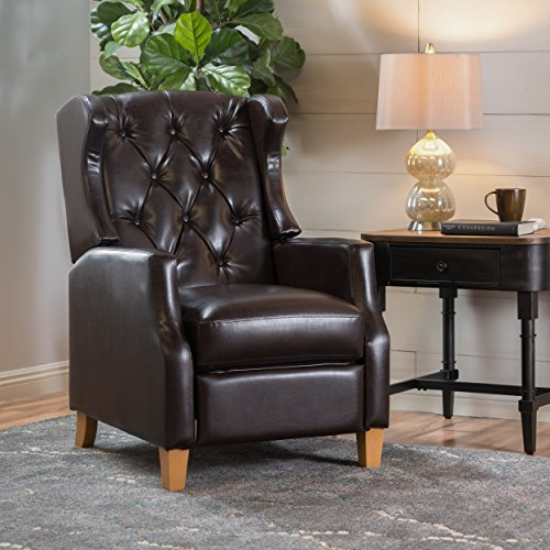 Gondor Tufted Wingback Recliner (Brown Bonded Leather) (Leather Wingback)