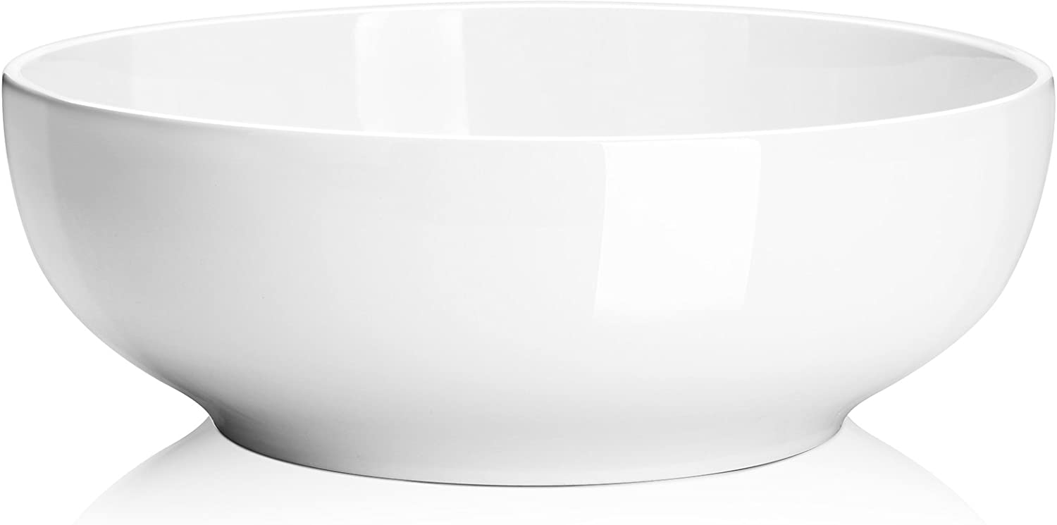 (2 Packs) DOWAN 2.5 Quarts Porcelain Serving Bowls, Salad Bowls, Pasta Bowl Set, White, Stackable